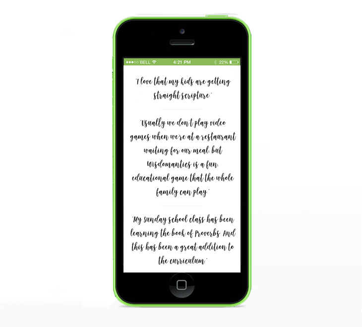 Wisdomantics Solomon Book of Proverbs App Testimonials
